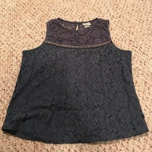 Daytrip buckle blue lace tank top size large